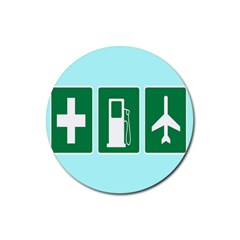 Traffic Signs Hospitals, Airplanes, Petrol Stations Rubber Coaster (Round)