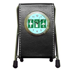 Traffic Signs Hospitals, Airplanes, Petrol Stations Pen Holder Desk Clocks