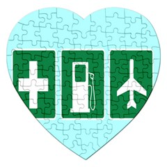 Traffic Signs Hospitals, Airplanes, Petrol Stations Jigsaw Puzzle (Heart)