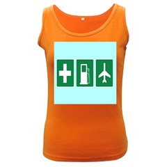 Traffic Signs Hospitals, Airplanes, Petrol Stations Women s Dark Tank Top