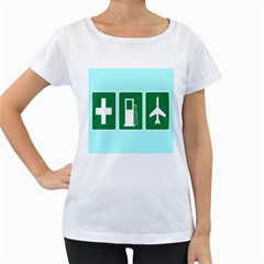 Traffic Signs Hospitals, Airplanes, Petrol Stations Women s Loose-Fit T-Shirt (White)