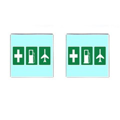 Traffic Signs Hospitals, Airplanes, Petrol Stations Cufflinks (Square)