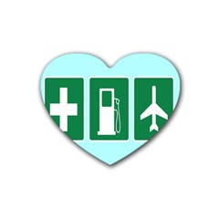 Traffic Signs Hospitals, Airplanes, Petrol Stations Rubber Coaster (Heart)