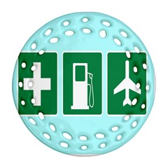 Traffic Signs Hospitals, Airplanes, Petrol Stations Ornament (Round Filigree)