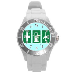Traffic Signs Hospitals, Airplanes, Petrol Stations Round Plastic Sport Watch (L)