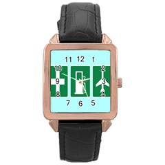 Traffic Signs Hospitals, Airplanes, Petrol Stations Rose Gold Leather Watch