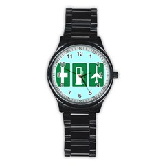 Traffic Signs Hospitals, Airplanes, Petrol Stations Stainless Steel Round Watch