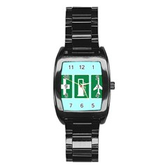 Traffic Signs Hospitals, Airplanes, Petrol Stations Stainless Steel Barrel Watch