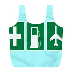 Traffic Signs Hospitals, Airplanes, Petrol Stations Full Print Recycle Bags (L)