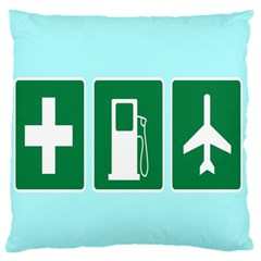 Traffic Signs Hospitals, Airplanes, Petrol Stations Large Flano Cushion Case (Two Sides)