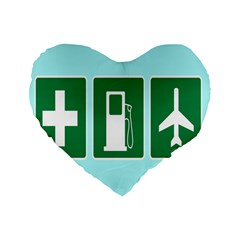 Traffic Signs Hospitals, Airplanes, Petrol Stations Standard 16  Premium Flano Heart Shape Cushions