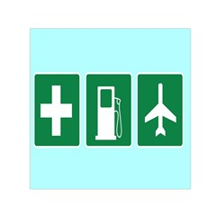 Traffic Signs Hospitals, Airplanes, Petrol Stations Small Satin Scarf (Square)