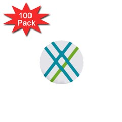 Symbol X Blue Green Sign 1  Mini Buttons (100 pack)