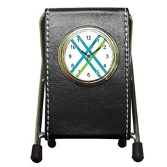 Symbol X Blue Green Sign Pen Holder Desk Clocks