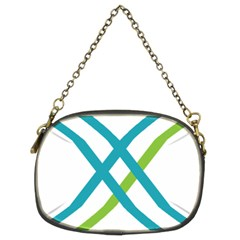 Symbol X Blue Green Sign Chain Purses (Two Sides)