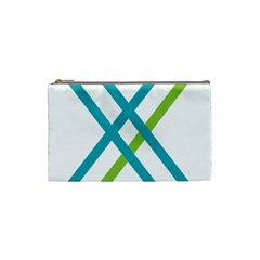 Symbol X Blue Green Sign Cosmetic Bag (Small)