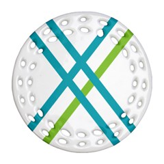 Symbol X Blue Green Sign Round Filigree Ornament (two Sides)