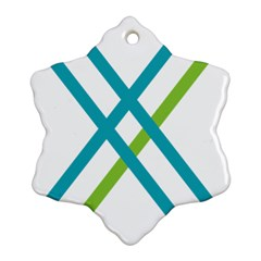 Symbol X Blue Green Sign Snowflake Ornament (Two Sides)