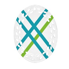 Symbol X Blue Green Sign Oval Filigree Ornament (Two Sides)