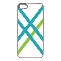 Symbol X Blue Green Sign Apple iPhone 5 Case (Silver)