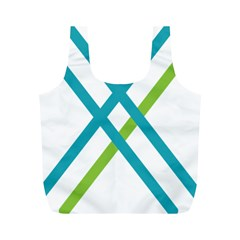 Symbol X Blue Green Sign Full Print Recycle Bags (M)