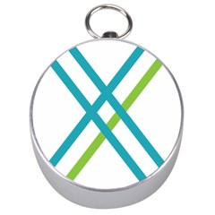 Symbol X Blue Green Sign Silver Compasses