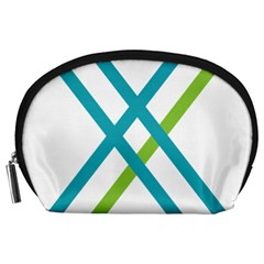 Symbol X Blue Green Sign Accessory Pouches (Large)