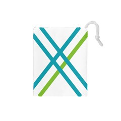 Symbol X Blue Green Sign Drawstring Pouches (Small)