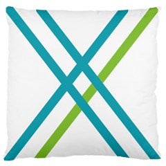 Symbol X Blue Green Sign Large Flano Cushion Case (One Side)