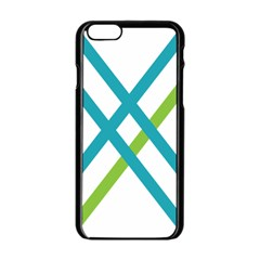 Symbol X Blue Green Sign Apple iPhone 6/6S Black Enamel Case