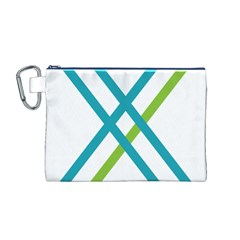 Symbol X Blue Green Sign Canvas Cosmetic Bag (M)