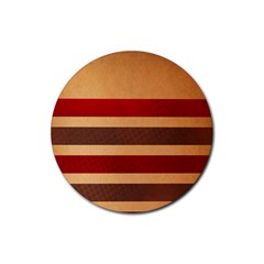Vintage Striped Polka Dot Red Brown Rubber Coaster (Round)