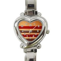 Vintage Striped Polka Dot Red Brown Heart Italian Charm Watch