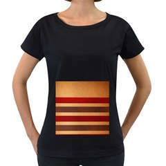 Vintage Striped Polka Dot Red Brown Women s Loose-Fit T-Shirt (Black)