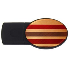 Vintage Striped Polka Dot Red Brown USB Flash Drive Oval (4 GB)