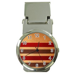 Vintage Striped Polka Dot Red Brown Money Clip Watches