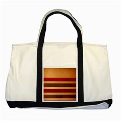 Vintage Striped Polka Dot Red Brown Two Tone Tote Bag