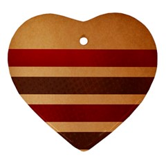 Vintage Striped Polka Dot Red Brown Heart Ornament (Two Sides)