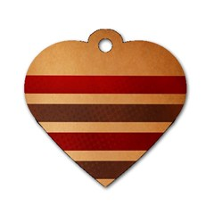 Vintage Striped Polka Dot Red Brown Dog Tag Heart (One Side)
