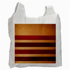Vintage Striped Polka Dot Red Brown Recycle Bag (Two Side)