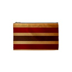 Vintage Striped Polka Dot Red Brown Cosmetic Bag (Small)