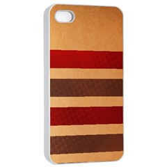 Vintage Striped Polka Dot Red Brown Apple iPhone 4/4s Seamless Case (White)