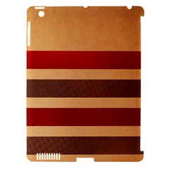 Vintage Striped Polka Dot Red Brown Apple iPad 3/4 Hardshell Case (Compatible with Smart Cover)