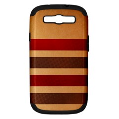 Vintage Striped Polka Dot Red Brown Samsung Galaxy S Iii Hardshell Case (pc+silicone)