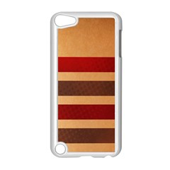 Vintage Striped Polka Dot Red Brown Apple iPod Touch 5 Case (White)