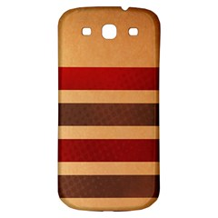 Vintage Striped Polka Dot Red Brown Samsung Galaxy S3 S III Classic Hardshell Back Case