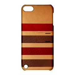 Vintage Striped Polka Dot Red Brown Apple iPod Touch 5 Hardshell Case with Stand