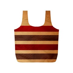 Vintage Striped Polka Dot Red Brown Full Print Recycle Bags (S)