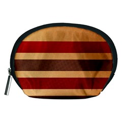 Vintage Striped Polka Dot Red Brown Accessory Pouches (Medium)