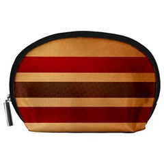 Vintage Striped Polka Dot Red Brown Accessory Pouches (Large)